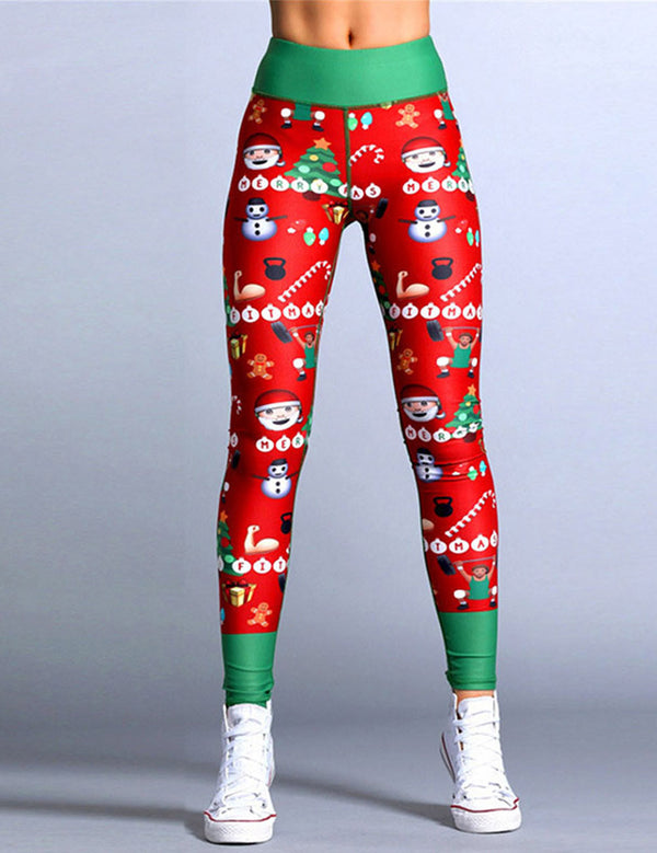 Middle Waisted Christamas Santa Printed Sports Leggings