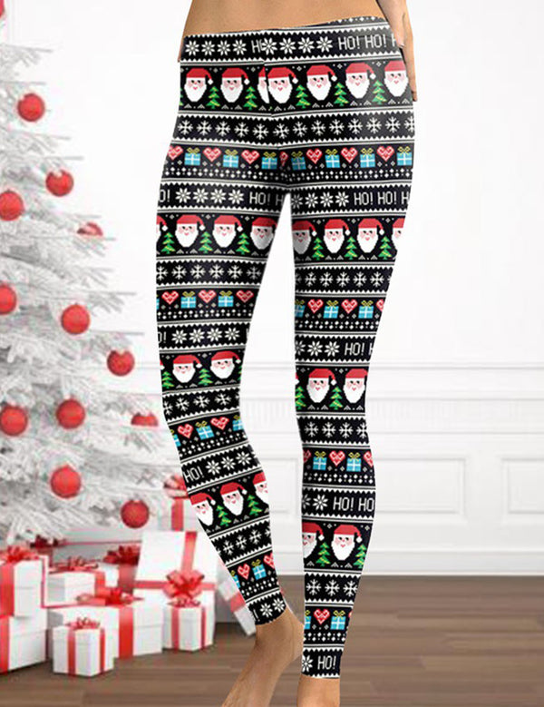 christmas santa print leggings
