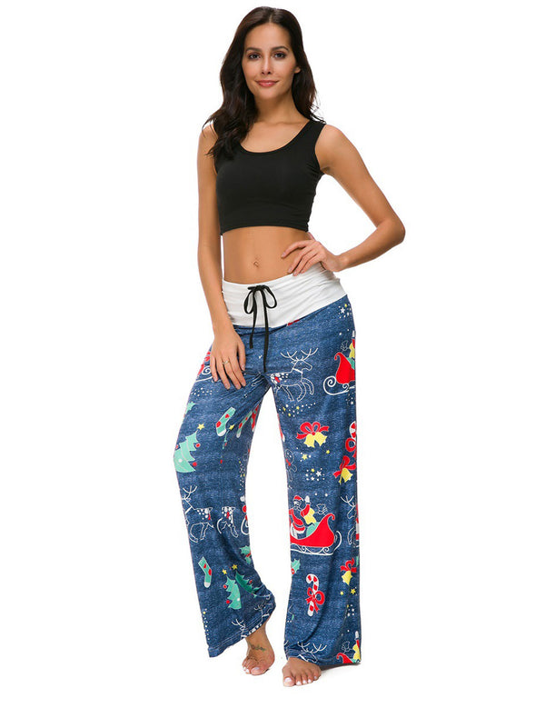elk printed christmas couple pants