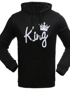 couple matching king printed hoodie