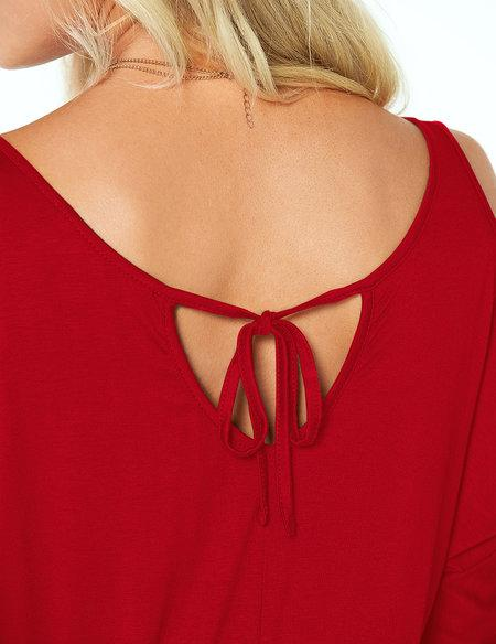 Solid Scoop Neck Cold Shoulder Tie-up at Back Tee