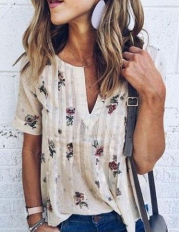 Floral V-Neck Short Sleeve Blouse without Necklace - Fancyqube