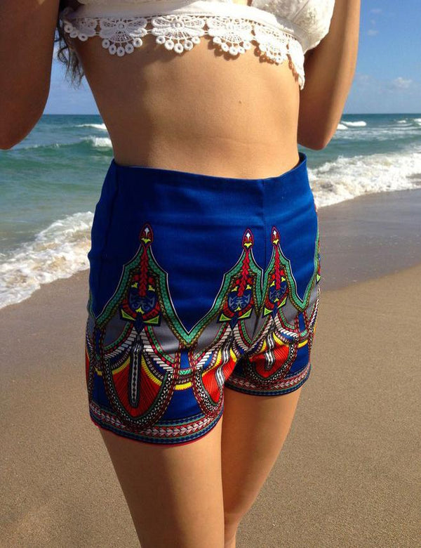 Slim Fitting Shorts - Stretchy Fabric / Large Design Pattern - Fancyqube