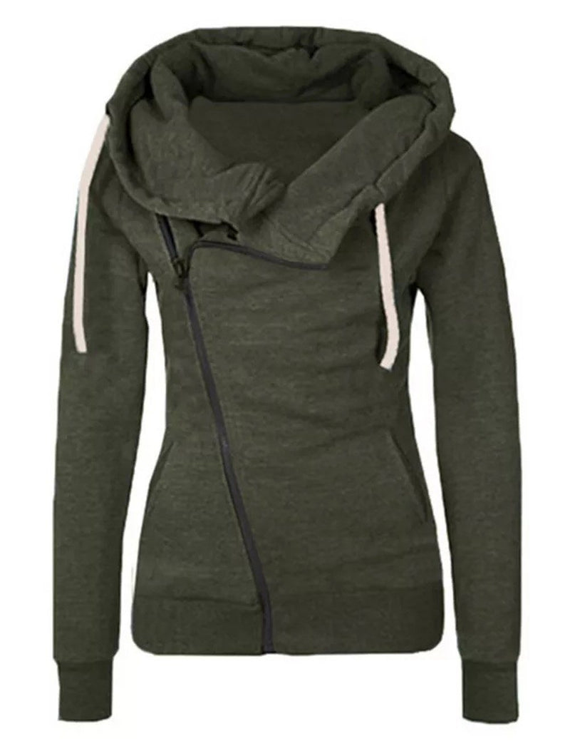 Casual Long Sleeve Zipper Pockets Hooded Sweatshirt