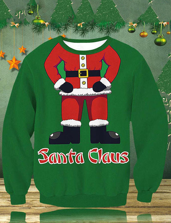 Unisex Christmas Cosplay Costume Women Santa Claus Pattern Sweater