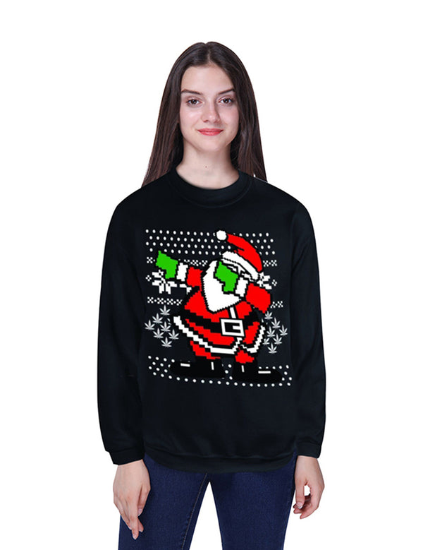 black santa claus printed sweater