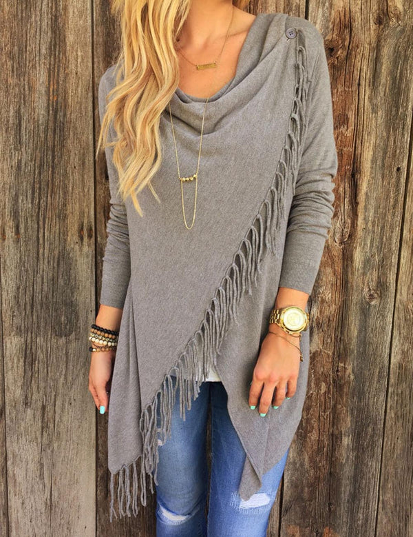 grey fringe tassel top