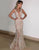 Women Deep V Neck Mermaid Sequin Evening Party Prom Dress