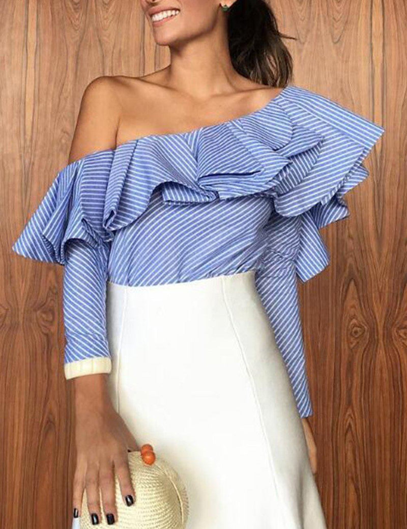 one shoulder ruffled blouse for women