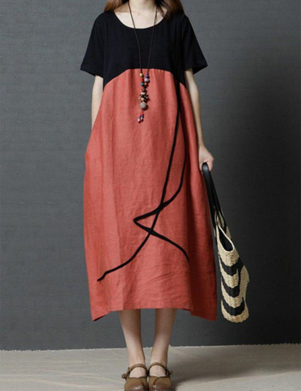 Paneled Short Sleeve Casual Solid Loose Maxi Shift Dress