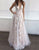 A-Line Deep V-Neck Backless Tulle Lace Party Maxi Dress