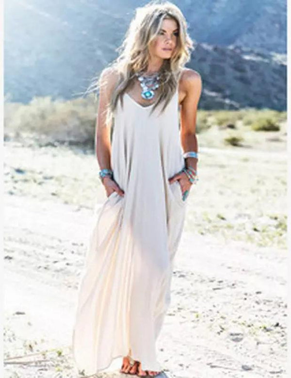 Sexy Sling Sleeveless Pockets Beach Maxi Dress