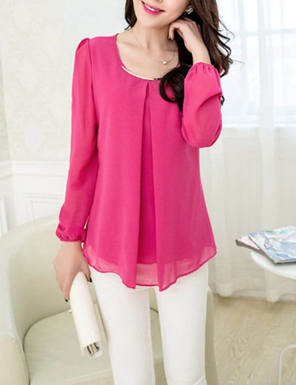 Autumn Spring Round Neck Asymmetric Hem Plain Long Sleeve Chiffon Blouse