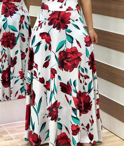 Casual Vacation Style Flower Print Color Matching Maxi Dress