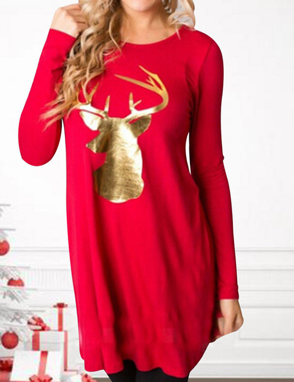 christmas eik printed top dress