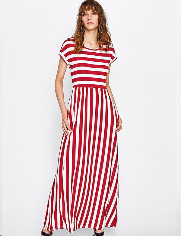red stripes maxi dress