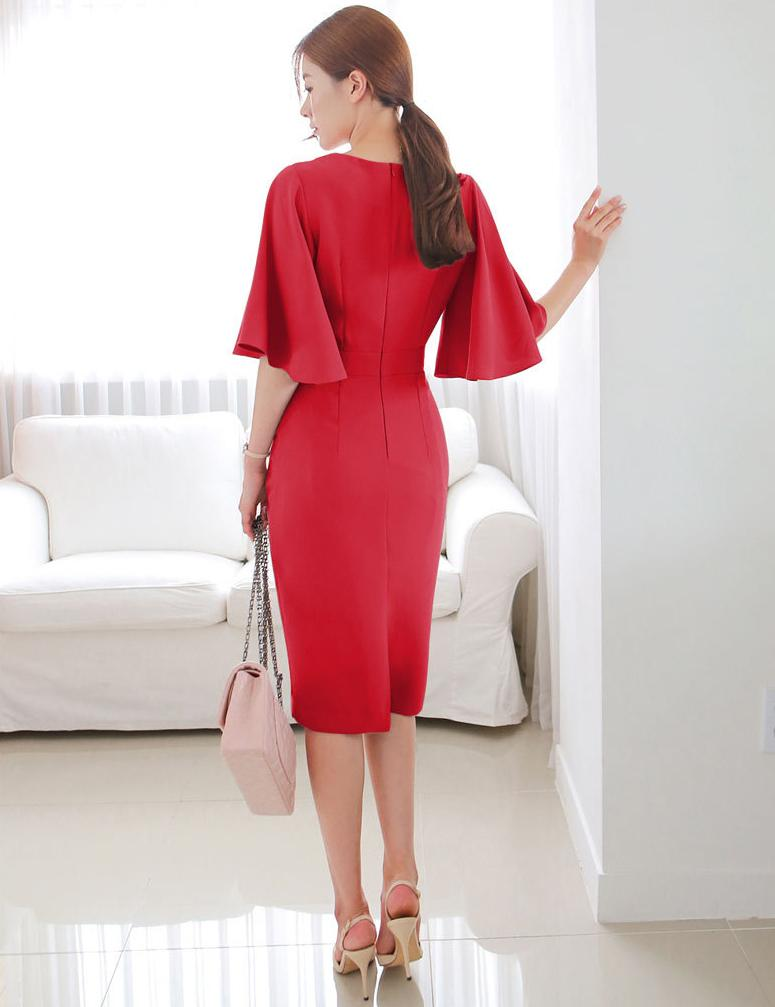 Sexy V-Neck Date Work Bell Sleeve Solid Bodycon Midi Dress