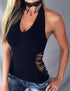 Solid Color High Deep V Neck Side Hollow Out Tank Top Vest