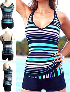 Plus Size Sports Stripe Swimwear Set - Fancyqube
