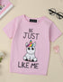 Unicorn Be Just Like Me Print Kids Casual Cute T-Shirt