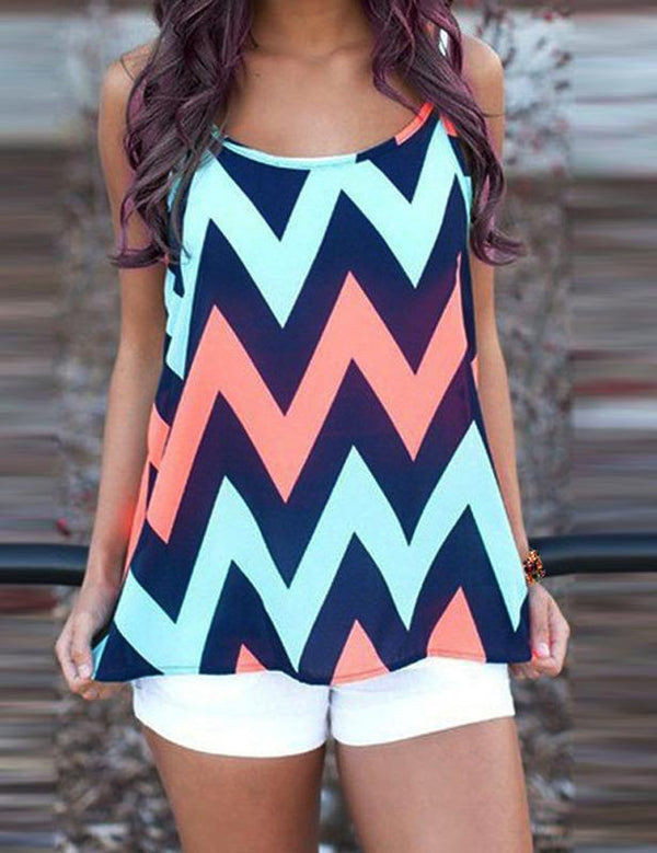 Sexy Sleeveless Geometric Printed Women's Loose Vest Tank Top Online - Fancyqube