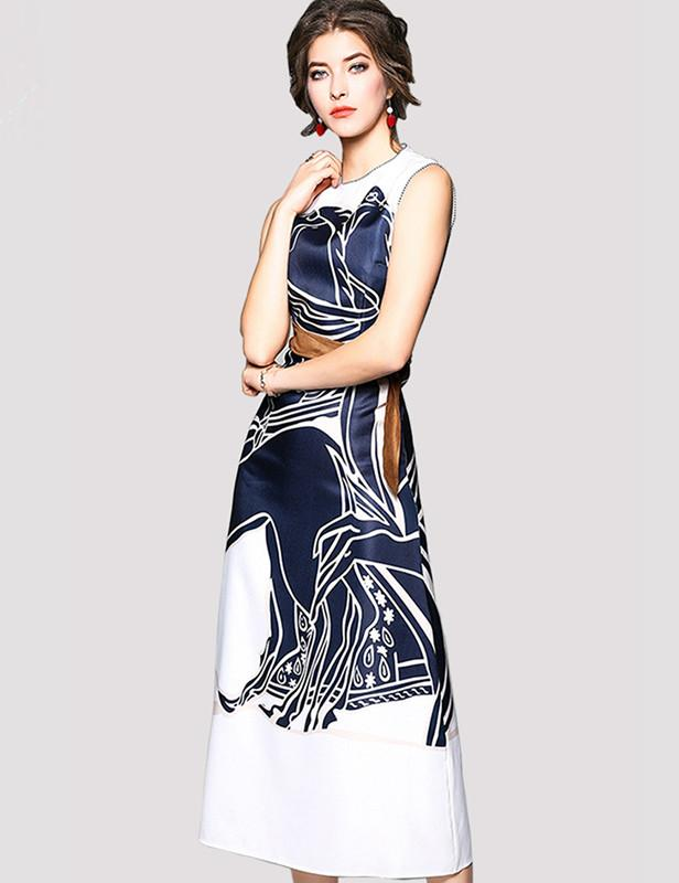 Hot A-Line Sleeveless Slim with Belt Print Midi Dress