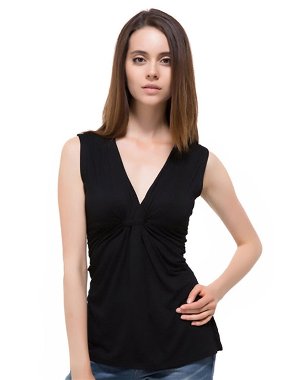 Slim V-neck Knot Sleeveless Top - Fancyqube