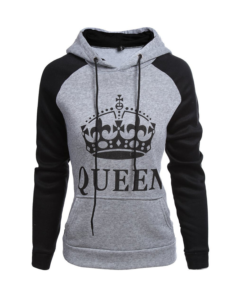 Long Sleeve King Queen Printed Hooded Sweater - Fancyqube