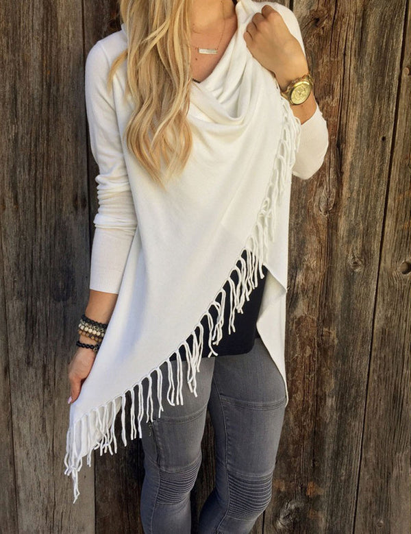 solid white autumn sweater