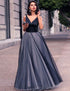 V Neck Sleeveless Slim Waist Evening Party Prom Long Chiffon Maxi Dress