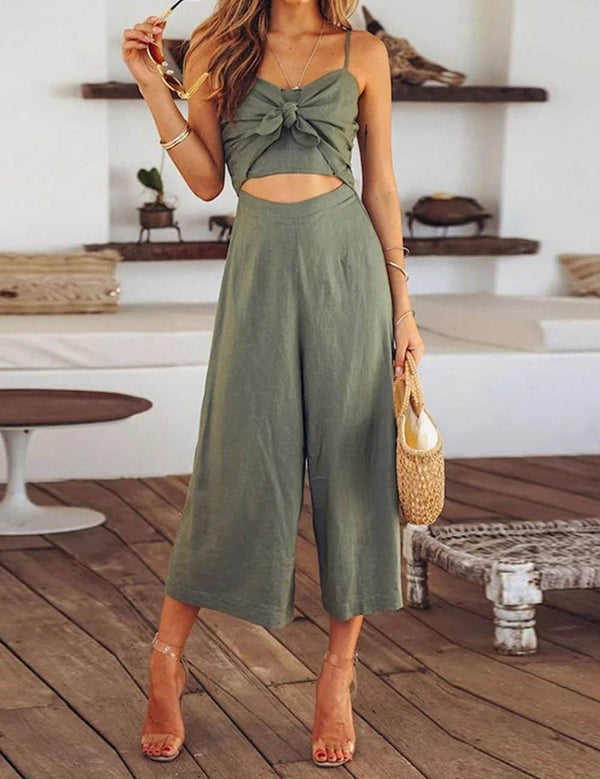 Fashion Sexy Slip Low Cut Bowknot Green Jumpsuit