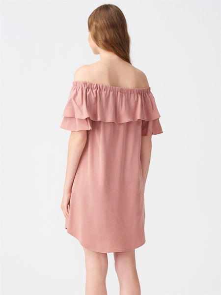 Off shoulder ruffles collar dress- Rose pink