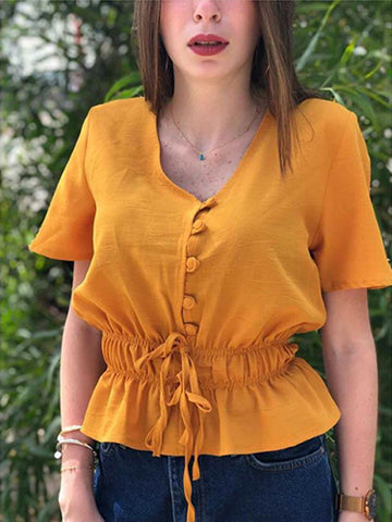 Drawstring waist top-mustard yellow
