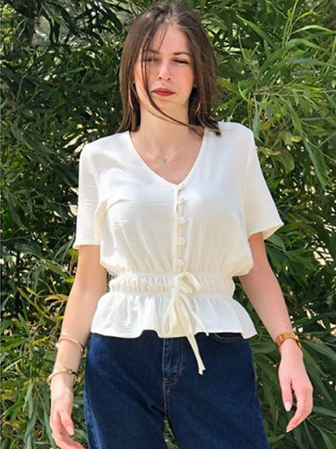 Buttons detail top- off white