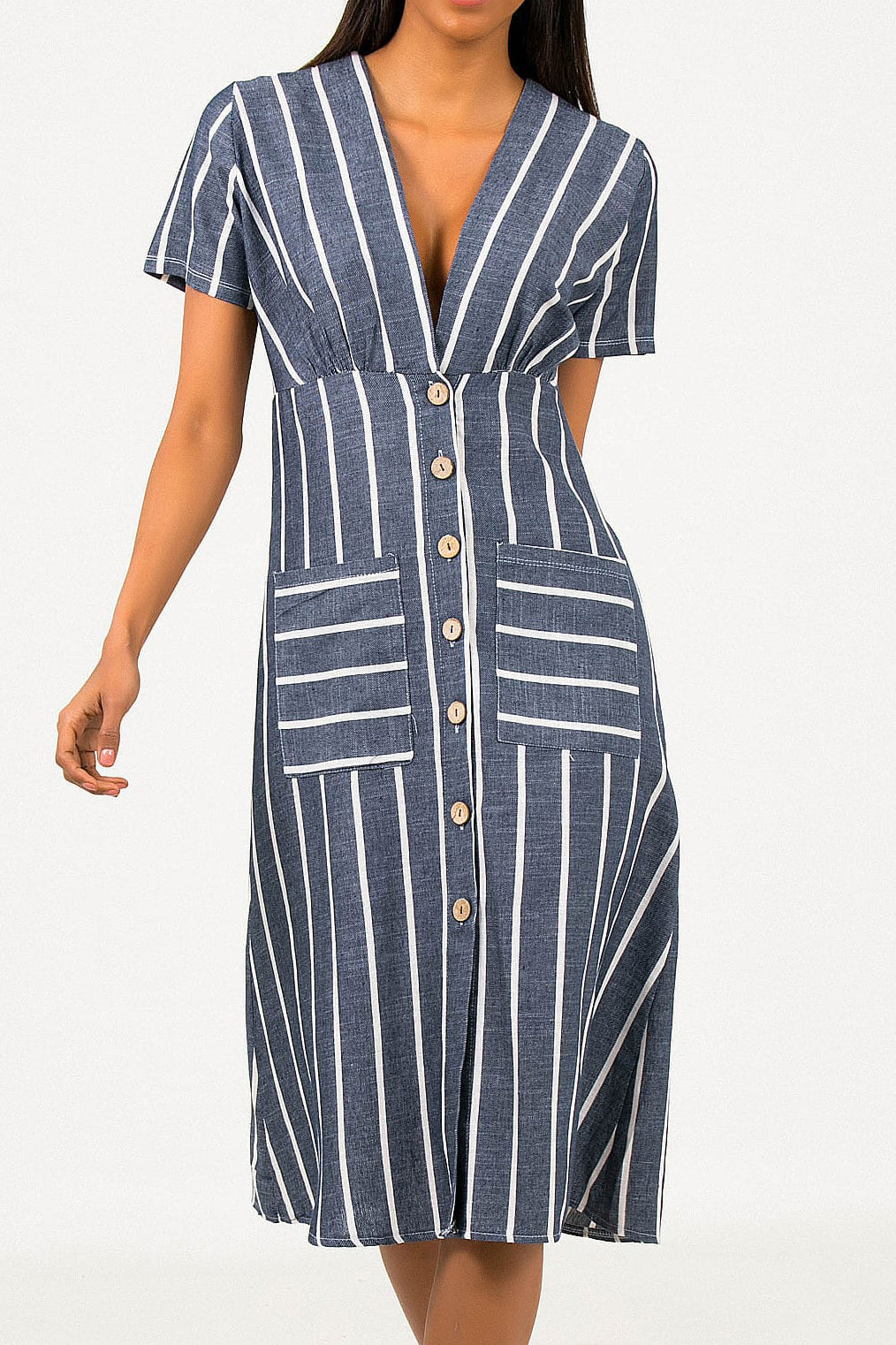 Copy of Striped pocket dress- dark blue