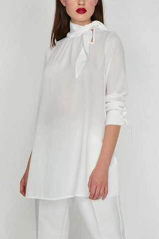 Neck tie detail tunic-white