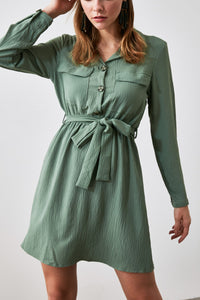 Pockets shirt dress- olive green