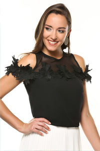 Off shoulder guipure applique top-black
