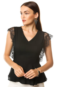 Lace detail blouse- black