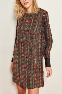 Stripe detail tweed dress