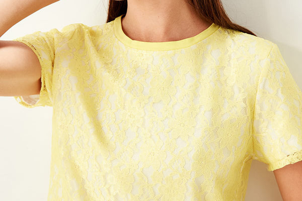 Lace tshirt-yellow