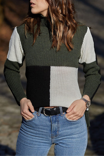 Color block knit top-olive green