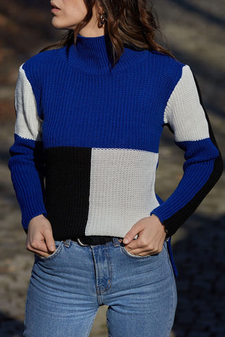 Color block knit top-blue