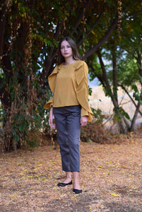 Wool blend pants- ash brown