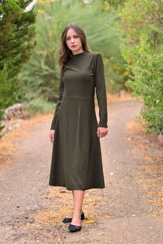 Ribbed long dress- olive