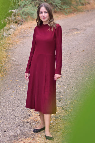 Ribbed long dress- Burgundy