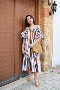 Striped off shoulder dress