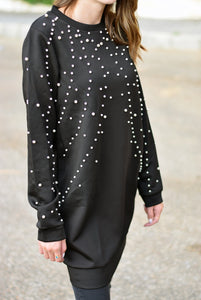 Pearl embellished tunic- black