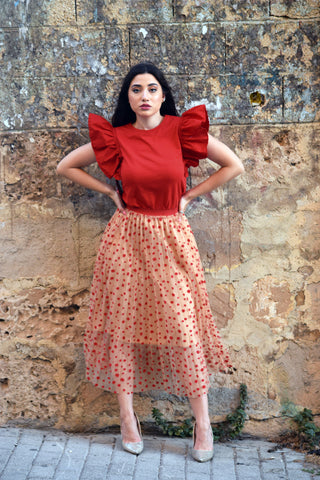 Tulle polka dots pleated midi skirt- beige & red