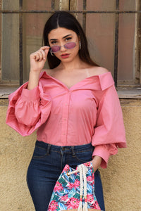 Off shoulder balloon sleeve shirt-pink
